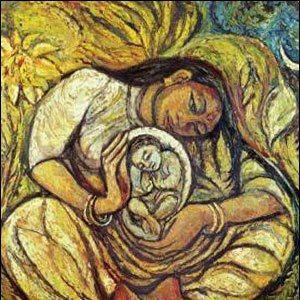 mother enfolding child - Art by Aradhna Amrit Vani